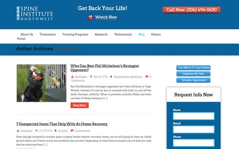 Screenshot of Developers Page spineinstitutenorthwest.com - Developer, Author at - captured Oct. 29, 2014