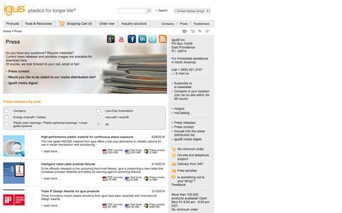 Screenshot of Press Page igus.com - igus® - Press releases and press photos - captured Aug. 28, 2016