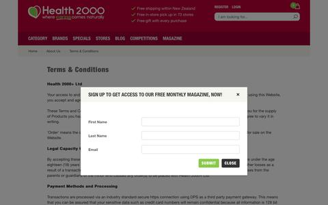 Screenshot of Terms Page health2000.co.nz - Natural Health Store - Health 2000 - captured July 25, 2017