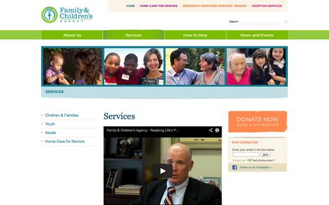 Screenshot of Services Page familyandchildrensagency.org - Family & Children's Agency: Realizing Life's Possibilities - captured Oct. 5, 2014