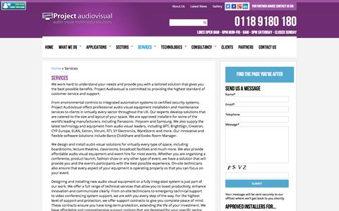 Screenshot of Services Page projectaudiovisual.co.uk - Services | Project Audiovisual - captured Oct. 28, 2014