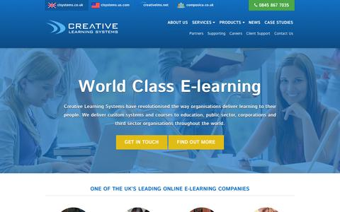 Screenshot of Home Page clsystems.co.uk - World Class E-learning - Creative Learning Systems - captured Oct. 3, 2014
