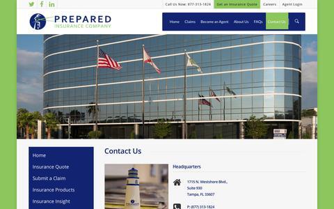 Screenshot of Contact Page preparedins.com - Contact Prepared | Prepared Insurance | Prepared Insurance - captured Jan. 30, 2016