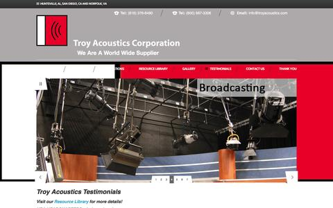 Screenshot of Testimonials Page troyacoustics.com - Testimonials   San Diego, CA Shooting Range Acoustics, Sound Walls and Highway Noise Barriers - captured Feb. 27, 2016