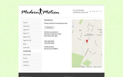 Screenshot of Contact Page modernmotion.org - Contacting Modern Motion Dance School - Modern Motion Dance School - captured Oct. 26, 2014