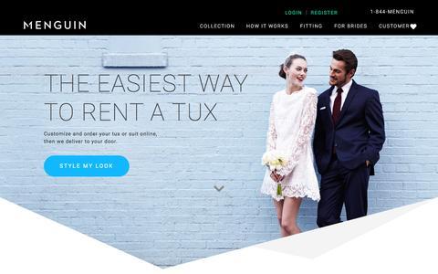 Screenshot of Home Page menguin.com - Online Tuxedo Rental | Men's Designer Wedding Tuxedo | Menguin - captured Aug. 10, 2016