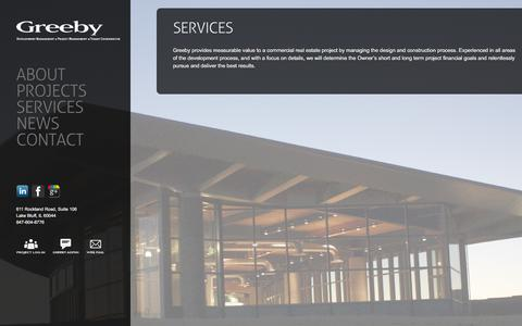 Screenshot of Services Page greeby.com - Services Provided - Greeby | The Greeby Companies - captured Oct. 22, 2017