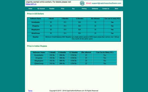 Screenshot of Pricing Page captchaworksoftware.com - Buy Captcha Software - captured June 29, 2017