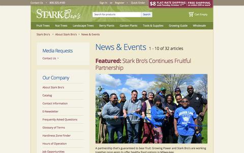 Screenshot of Press Page starkbros.com - News & Events - Stark Bro's - captured Oct. 16, 2017