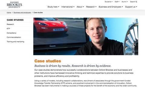 Screenshot of Case Studies Page brookes.ac.uk - Case studies - Oxford Brookes University - captured May 29, 2018