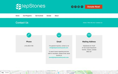 Screenshot of Contact Page stepstonesforyouth.com - Contact Us - StepStones for Youth - captured Feb. 19, 2018