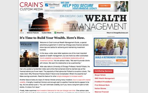 2016 Wealth Management Guide - Crain's Chicago Business Custom Media Services
