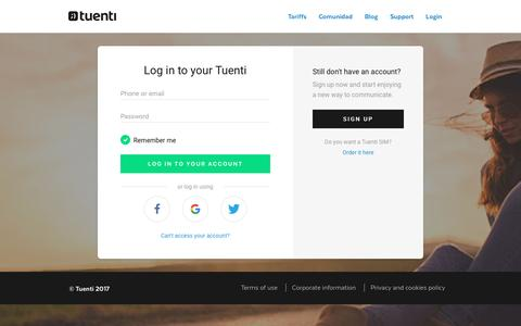 Screenshot of Login Page tuenti.com - Log in to your Tuenti - captured May 8, 2017
