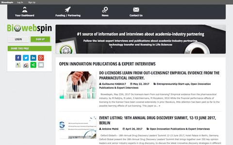 Screenshot of Press Page biowebspin.com - Open Innovation Publications & Expert Interviews Archives - Biowebspin | Biowebspin - captured Aug. 4, 2017