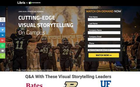 Screenshot of Landing Page photoshelter.com - Cutting-Edge Visual Storytelling On Campus | Libris Visual Storytelling Webinars - captured March 13, 2019