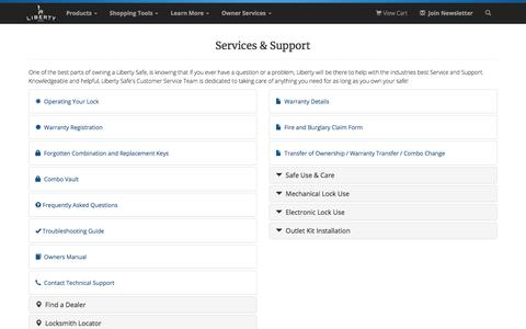 Screenshot of Services Page libertysafe.com - Liberty SafesLiberty Safe Customer Service and Support | Liberty Safe - captured Sept. 22, 2018