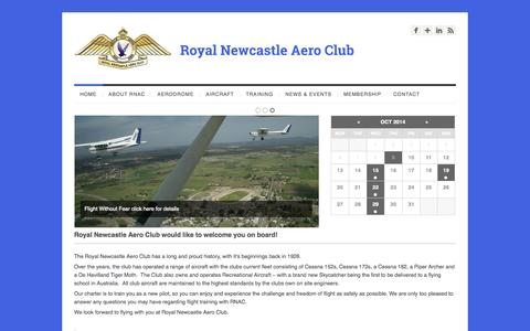 Screenshot of Home Page rnac.com.au - Royal Newcastle Aero Club - captured Oct. 9, 2014
