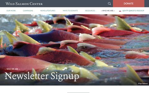 Screenshot of Signup Page wildsalmoncenter.org - Newsletter Signup - Wild Salmon Center - captured Oct. 20, 2018