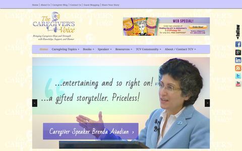 Screenshot of Home Page thecaregiversvoice.com - The Caregiver's Voice   Caregiver TIPS for dementia - captured Feb. 16, 2016