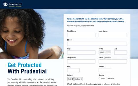 Screenshot of Landing Page prudential.com - AD Landing Page - captured June 22, 2016