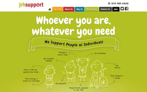 Screenshot of Home Page jrhsupport.co.uk - Community Support | Care at Home | Supported Living Nottingham  | JRH Support - JRH Support - captured Sept. 23, 2014