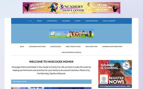Screenshot of Home Page muscogeemoms.com - Muscogee Moms - Your Guide to Family Fun - captured June 25, 2017