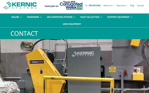Screenshot of Contact Page kernicsystems.com - Kernic Systems | Contact | Burlington ON | Material Handling - captured Sept. 20, 2018