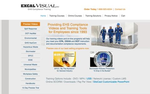 Screenshot of Home Page excalvisual.com - EHS Employee Training | Excal Visual Inc | United States - captured Sept. 29, 2018