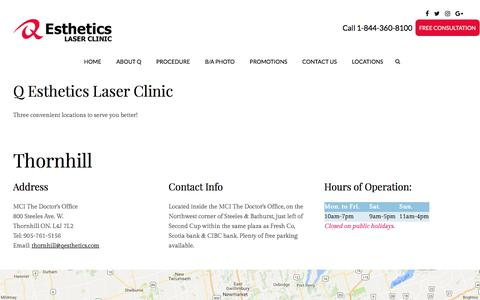 Screenshot of Contact Page Locations Page qesthetics.com - Q Esthetics Laser Clinic in Toronto, Mississauga, Thornhill | solutions | Services and Products - captured July 8, 2017
