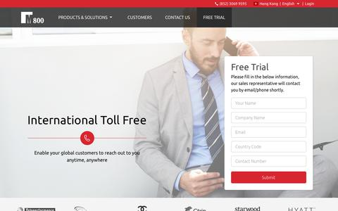 Screenshot of Trial Page m800.com - International Toll Free Numbers | M800 - captured Sept. 26, 2017