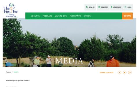 Screenshot of Press Page thefirstteekc.org - Media - The First Tee of Greater Kansas City - captured July 3, 2018