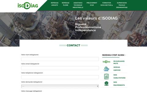 Screenshot of Contact Page isodiag.net - ISODIAG - captured July 22, 2016