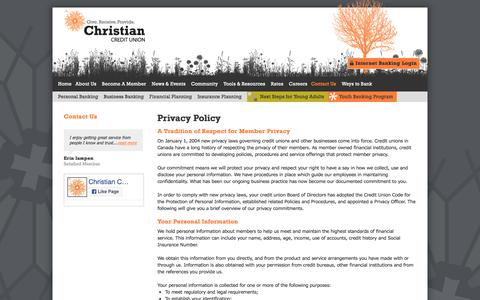 Screenshot of Privacy Page christiancu.ca - Privacy Policy | Contact Us | Christian Credit Union - captured July 30, 2017