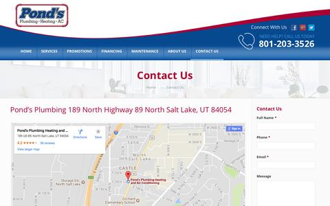 Screenshot of Contact Page pondsutah.com - Contact Us | Pond's Plumbing, Heating, and Air Conditioning - captured Aug. 12, 2017