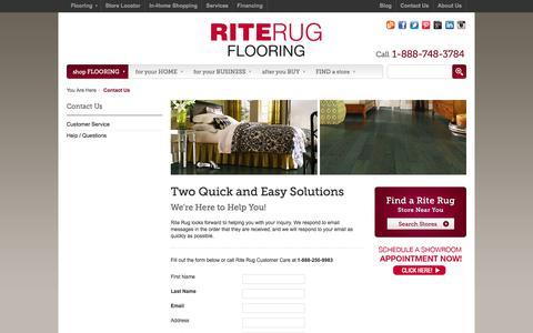Screenshot of Contact Page riterug.com - Contact Us - captured Jan. 25, 2018
