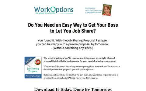 Screenshot of workoptions.com - How to Propose a Job Sharing Arrangement (and Get it Approved--Fast) - captured Nov. 24, 2017