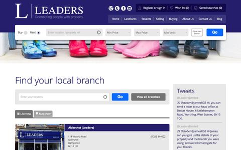 Screenshot of Contact Page leaders.co.uk - Leaders branch list - captured Oct. 31, 2014