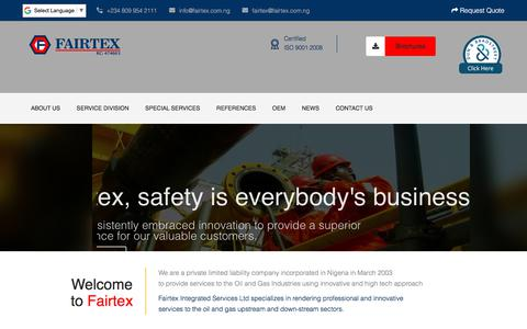 Screenshot of Home Page fairtex.com.ng - Fairtex Integrated Services Ltd - captured Sept. 25, 2018