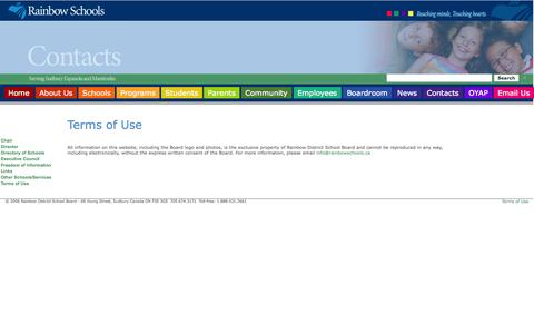Screenshot of Terms Page rainbowschools.ca - Rainbow Schools - Sudbury, Ontario, Canada - captured Oct. 27, 2014