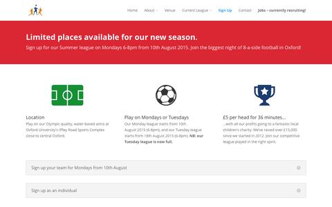 Screenshot of Signup Page charityfootballleague.co.uk - Sign Up   Charity Football League - captured July 20, 2015