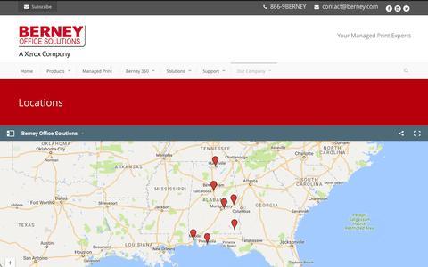 Screenshot of Locations Page berney.com - Berney Office Solutions  Locations - Berney Office Solutions - captured Nov. 22, 2016