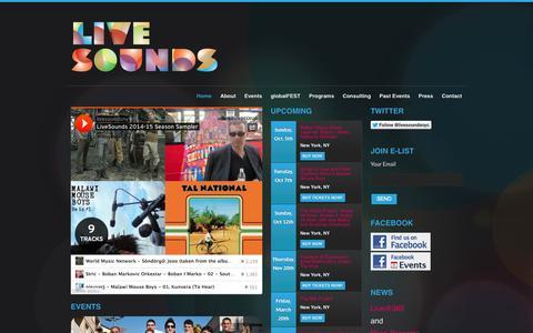 Screenshot of Home Page livesounds.org - Live Sounds - captured Sept. 30, 2014