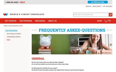 Screenshot of FAQ Page worldsfinestchocolate.com - World's Finest Chocolate Fundraising |  FAQs - captured Oct. 2, 2018