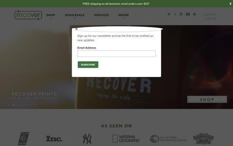 Screenshot of Home Page recoverbrands.com - Recover Brands | Eco-Friendly 100% Recycled Apparel - captured Nov. 12, 2017