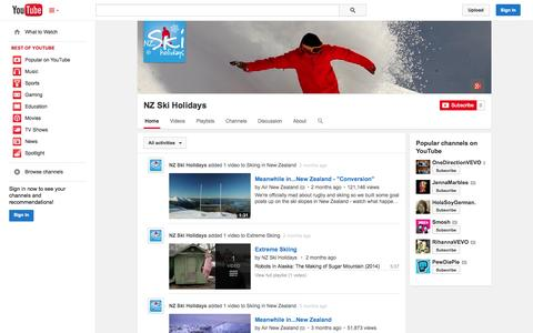 Screenshot of YouTube Page youtube.com - NZ Ski Holidays  - YouTube - captured Oct. 26, 2014