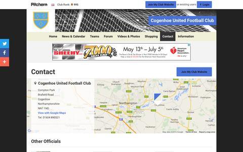 Screenshot of Contact Page pitchero.com - Contact - Cogenhoe United Football Club - captured June 22, 2016