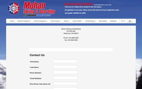 Screenshot of Contact Page skimohan.com - Mohan Skiing & Boarding | About | Contact - captured Oct. 26, 2014