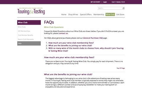 Screenshot of FAQ Page touringandtasting.com - Touring and Tasting - Wine Club - Review Club - captured Nov. 18, 2016