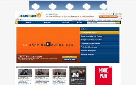 Screenshot of Home Page labourseetlavie.com - La Bourse et la Vie : 1ère WebTV 100% Actualités sur la Bourse, l'Économie et les Entreprises - La Bourse et la Vie Web TV - captured Sept. 24, 2014