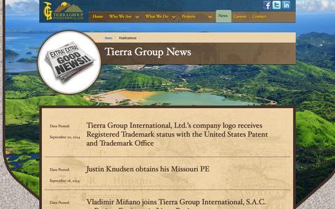 Screenshot of Press Page tierragroupinternational.com - News - captured Oct. 7, 2014